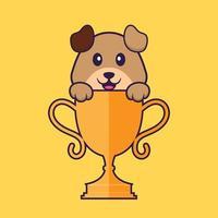 cachorro bonito com troféu de ouro. conceito de desenho animado animal isolado. pode ser usado para t-shirt, cartão de felicitações, cartão de convite ou mascote. estilo cartoon plana vetor