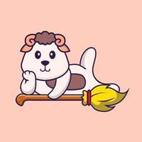ovelha bonita deitada na vassoura mágica. conceito de desenho animado animal isolado. pode ser usado para t-shirt, cartão de felicitações, cartão de convite ou mascote. estilo cartoon plana vetor