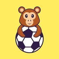 macaco bonito jogando futebol. conceito de desenho animado animal isolado. pode ser usado para t-shirt, cartão de felicitações, cartão de convite ou mascote. estilo cartoon plana vetor