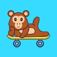 macaco fofo deitado sobre um skate. conceito de desenho animado animal isolado. pode ser usado para t-shirt, cartão de felicitações, cartão de convite ou mascote. estilo cartoon plana vetor