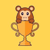 macaco bonito com troféu de ouro. conceito de desenho animado animal isolado. pode ser usado para t-shirt, cartão de felicitações, cartão de convite ou mascote. estilo cartoon plana vetor