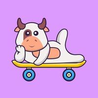 vaca bonita deitada em um skate. conceito de desenho animado animal isolado. pode ser usado para t-shirt, cartão de felicitações, cartão de convite ou mascote. estilo cartoon plana vetor