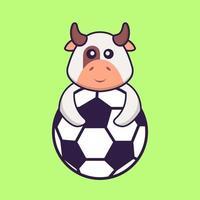 vaca bonita jogando futebol. conceito de desenho animado animal isolado. pode ser usado para t-shirt, cartão de felicitações, cartão de convite ou mascote. estilo cartoon plana vetor
