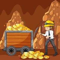 Um trabalhador de escritório Mining Cyber Coin vetor