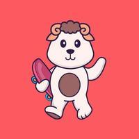ovelhas segurando um skate. conceito de desenho animado animal isolado. pode ser usado para t-shirt, cartão de felicitações, cartão de convite ou mascote. estilo cartoon plana vetor