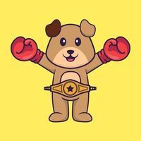 cão fofo em traje de boxer com cinto de campeão. conceito de desenho animado animal isolado. pode ser usado para t-shirt, cartão de felicitações, cartão de convite ou mascote. estilo cartoon plana vetor