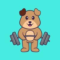 cachorro bonito levanta a barra. conceito de desenho animado animal isolado. pode ser usado para t-shirt, cartão de felicitações, cartão de convite ou mascote. estilo cartoon plana vetor
