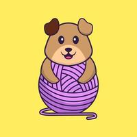cachorro bonito brincando com fios de lã. conceito de desenho animado animal isolado. pode ser usado para t-shirt, cartão de felicitações, cartão de convite ou mascote. estilo cartoon plana vetor