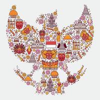 definir ícones da Indonésia em forma de garuda vetor