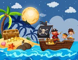 Pirata e Crianças Encontrando Tesouro vetor