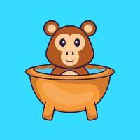 macaco bonito tomando banho na banheira. conceito de desenho animado animal isolado. pode ser usado para t-shirt, cartão de felicitações, cartão de convite ou mascote. estilo cartoon plana vetor