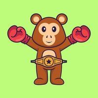 macaco bonito em traje de boxer com cinto de campeão. conceito de desenho animado animal isolado. pode ser usado para t-shirt, cartão de felicitações, cartão de convite ou mascote. estilo cartoon plana vetor