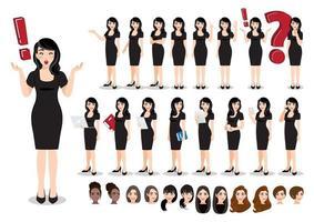 conjunto de personagens de desenhos animados de mulher de negócios. mulher de negócios linda em um vestido preto. ilustração vetorial vetor