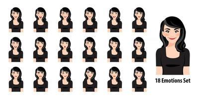 linda senhora de vestido preto com diferentes expressões faciais definidas isoladas em ilustração vetorial de estilo de personagem de desenho animado vetor
