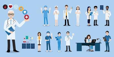 grupo de médicos e enfermeiras e equipe médica. conceito de equipe médica em vetor de personagens de pessoas de design plano.