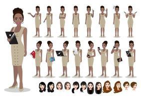 conjunto de personagens de desenhos animados americana africana empresária. linda mulher de negócios com vestido inteligente de estilo de escritório. ilustração vetorial vetor