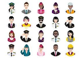 grande pacote de avatares de pessoas diferentes. conjunto de retratos de equipes de companhias aéreas profissionais. personagens de avatar de homens e mulheres. vetor
