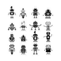 ícones de robô, símbolos de vetor mono. conjunto de silhuetas de robô de vetor. robôs e ciborgues de estilo de design plano. andróides de ficção científica com inteligência artificial