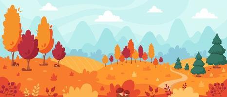 paisagem de outono com árvores, montanhas, campos, folhas. paisagem rural. fundo de outono. vetor
