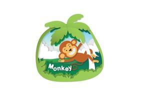 letra do alfabeto m-monkey, ilustração em vetor conceito corte de papel