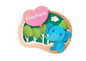 letra do alfabeto e-elefante, ilustração vetorial de conceito de corte de papel vetor