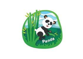 letra do alfabeto p-panda, ilustração vetorial de conceito de corte de papel vetor