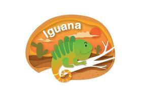 letra do alfabeto i-iguana, ilustração vetorial de conceito de corte de papel vetor