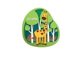 letra do alfabeto g-girafa, ilustração em vetor conceito corte de papel