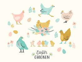 Feliz Páscoa. Conjunto de vetores de frango de Páscoa para cartão, cartaz, flyer e outros usuários.