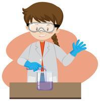 Um cientista explorando no laboratório vetor