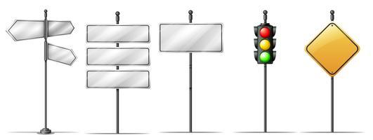 Conjunto de placa de direção de tráfego vetor