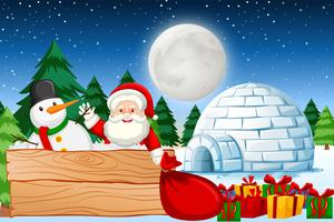 Noite de natal com papai noel vetor