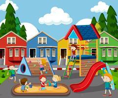 Crianças, em, coloridos, pátio recreio vetor