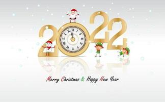 ano novo em fundo branco com relógio de ouro de luxo com desenho animado feliz natal e feliz ano novo em vetor. novo ano 2022 vetor