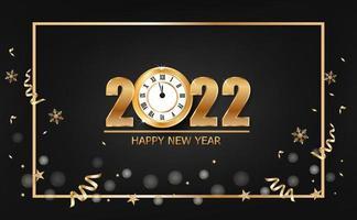 banner de feliz ano novo de 2022 com relógio de ouro em fundo preto vetor