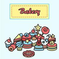 ilustração de padaria, etiqueta de ícones de bolo. doce banner doce vetor
