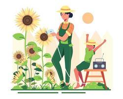 garota em um dia brilhante com rotina de rega para ela e seu filho. vetor
