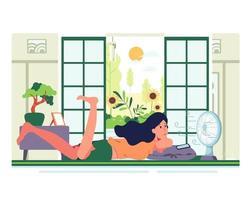 férias chatas deitar e jogar no celular na frente do ventilador vetor