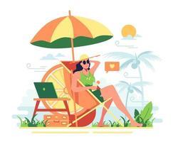 uma garota que tira férias na praia em um dia ensolarado vetor
