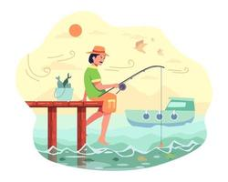 o pescador sentou para pescar no final da ponte com uma vara de pescar e isca vetor