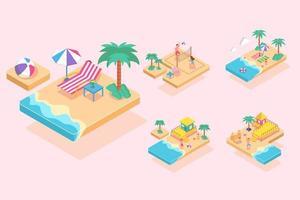 lugar isomético de férias em personagem de desenho animado de design gráfico de verão vetor