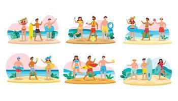 pacote de personagens masculinos 6 conjuntos, 18 poses de mulher em traje de banho com equipamento na praia vetor