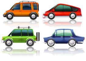 Diferentes tipos de carros em quatro cores vetor
