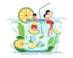 limão conceito de suco de verão vetor