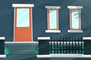 frente da casa com porta e janela brilha com a luz do sol vetor