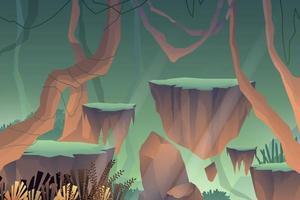 plataforma de pedra em caverna com atmosfera calma vetor