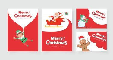 cartão vertical de natal com rena do papai noel e ajudante do papai noel vetor