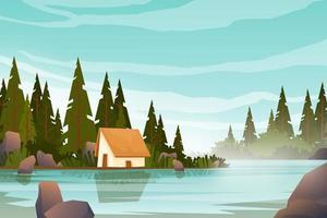 casa de campo no vetor de fundo de paisagem de floresta de colina