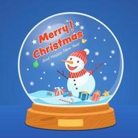 globo de neve de Natal com boneco de neve sobre fundo azul estrelado. vetor