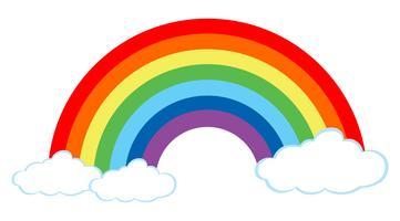 Um lindo arco-íris no fundo branco vetor